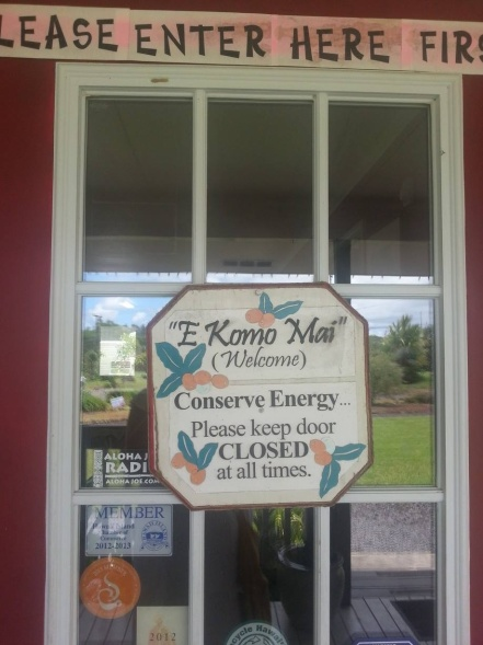 Front door to the store of Hilo Coffee Mill