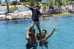 From left to right: Austin (nephew), sons Kolbee & Kekoa - pooling around