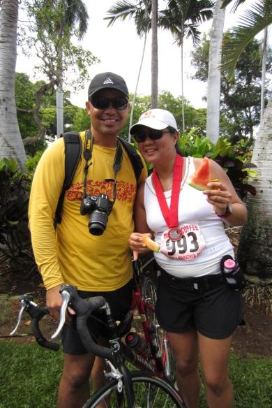 Proud parents at finish line