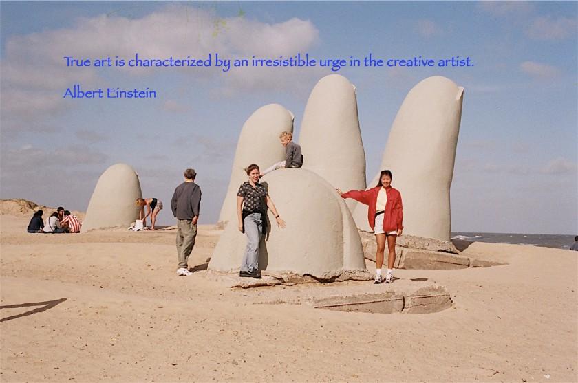 """""""La Mano"""" Sculpture by Mario Irarrazabal (Chilean).  Located in Punta del Este, Uruguay"""