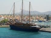 Cruise ship docked in port of Aegina