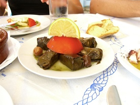 Dolmadakia, Grape leaves staffed with rice (Aegina, Greece)