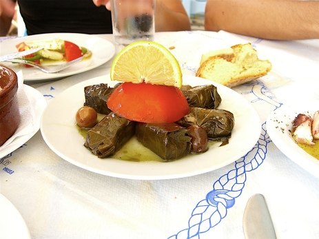 Dolmadakia, Grape leaves staffed with rice (Aegina, Greece)