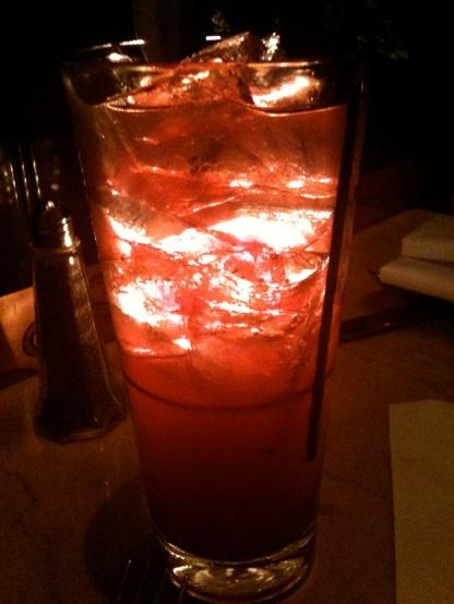 Table light through a cocktail. St. Louis, Missouri.