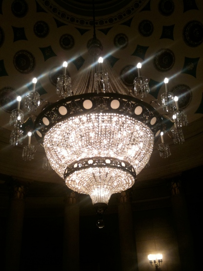 Chandelier in the United States Capitol. Washington DC