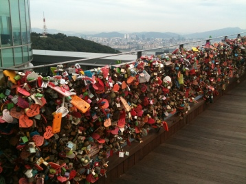 Lovers' Locks against the Seoul Skyline. Namsan, South Korea, 2012.