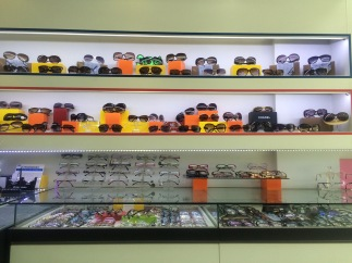 Frames of all kinds in a glasses shop