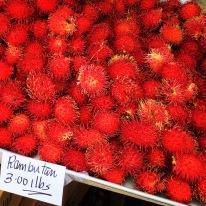 A table full of rambutans
